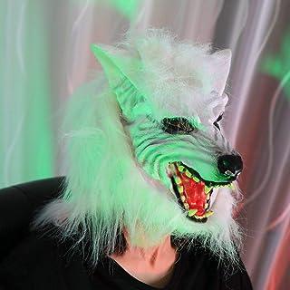 ZJMIYJ Halloween-mask, skräck mask skrämmande varg huvud latex hel huvudmask halloween cosplay fest kostym rekvisita