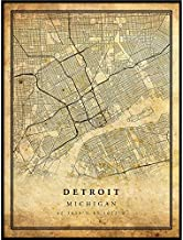 Detroit map Vintage Style Poster Print | Old City Artwork Prints | Antique Style Home Decor | Michigan Wall Art Gift | Antique map Poster 11x14
