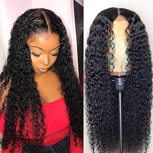 18inch Brazilian 13x4 Kinky Curly Lace Front Wigs Human Hair Lace Front Wigs For Black Women Pre Plucked with Baby Hair Natural Black 150% Density