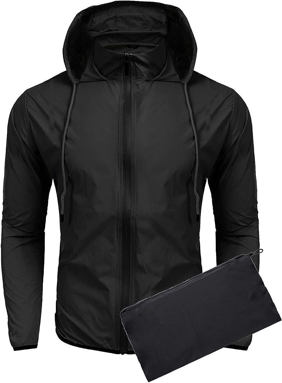 COOFANDY Unisex Packable Rain Jacket Lightweight Waterproof Hooded Outdoor Running Hiking Cycling Raincoat
