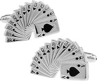 Epinki Cufflinks for Men Silver Poker Cufflinks Gift for Men Father's Day Friends with Elegant Box
