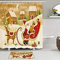 MIMUTI シャワーカーテン バスマット 2点セット ファンタジー冬の森の年末年始のクリスマスクリスマスサンタクロースのトナカイそり 自家 寮用 ホテル 間仕切り 浴室 バスルーム 風呂カーテン 足ふきマット 遮光 防水 おしゃれ 12個リング付き