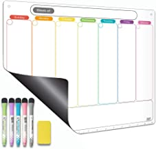 Magnetic Calendar for Refrigerator. Horizontal Weekly Dry Erase Fridge Calendar Whiteboard Meal Planner Menu Board - Thickened Magnet. with Fine Tip Marker & Eraser & Holes for Wall Hanging