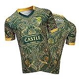 YAQA Afrique du Sud Springbok 7S Rugby Jersey Coupe du Monde 2019 T-Shirt en Jersey Édition 100e Anniversaire Fans T-Shirts Polo D'entraînement À Manches Courtes Vêtement Yellow green-4XL