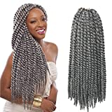 S-noilite 6 Packs Mambo Twist Crochet Hair Extension Senegalese Twist Crochet Braids Twists Braiding Synthetic Hair for Women 18 Inch Silver Grey