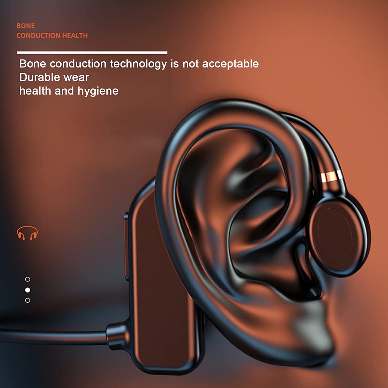 OCUhome Bone Conduction Headphones, Open Ear Bluetooth 5.2 Headphones, Ear Hook Bone Conduction Earphone IPX5 Waterproof Wireless Headphone for Sports Red