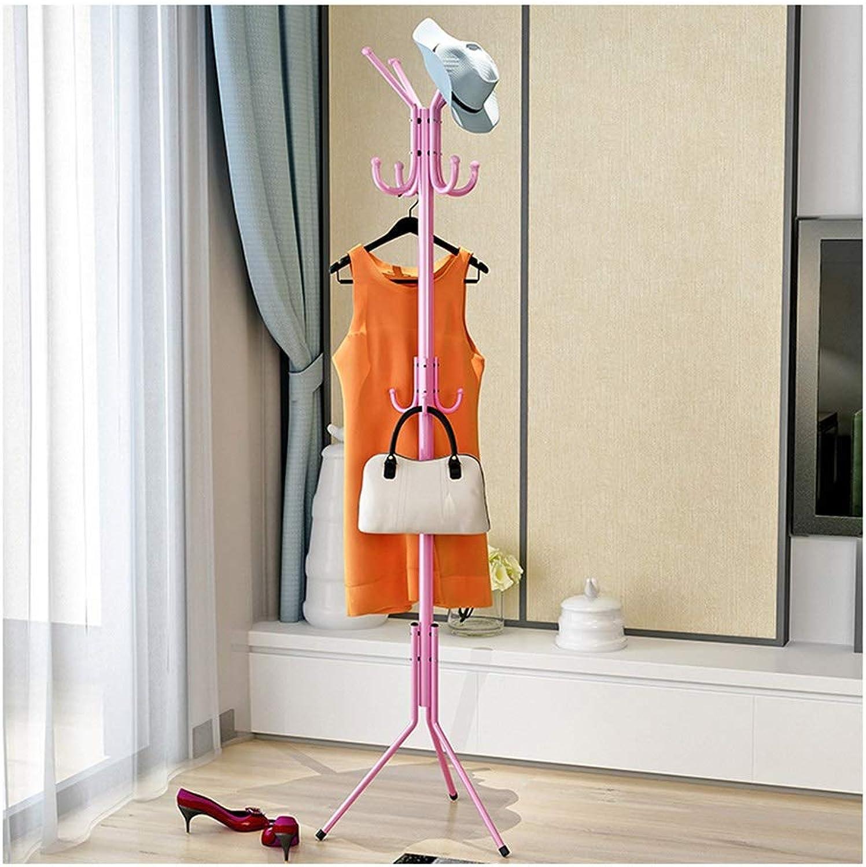 JIANFEI Home Floor Standing Coat Rack Hat Stand Hanger Metal Hook Triangular Support Bedroom 32mm Main Pole,3 colors (color   Pink, Size   48x48x175cm)