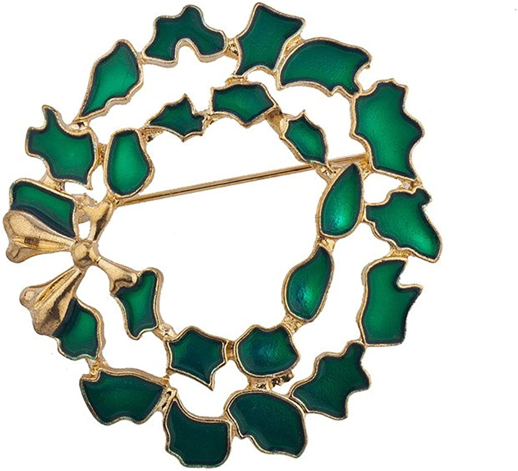 LUX ACCESSORIES Holiday Christmas Xmas Green Goldtone Wreath Brooch Pin