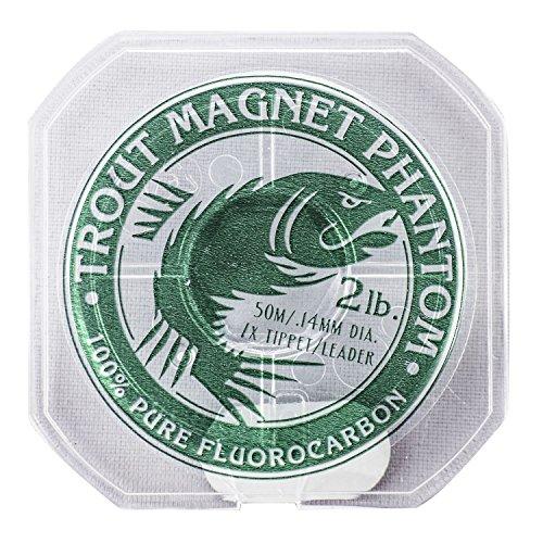 Trout Magnet Phantom 100% Fluorocarbon Fishing Leader Line, 50M (2lb, 3lb, 4lb Test), 2lb, 7X Tippet Alaska