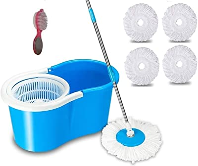 SHIVONIC Advance Home Cleaning 360° Spin Floor Cleaning Easy Advance Tech Bucket PVC Mop & Rotating Steel Pole Head with 1 Foot Brush,4 Microfiber Refill Head Standard Color Blue