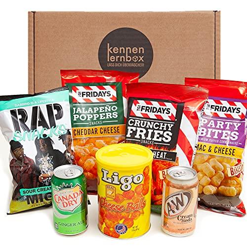 Chips Box aus Amerika | Kennenlernbox mit 7 beliebten Chips und Getränke aus den USA | Geschenkidee für besondere private und Firmen Anlässe