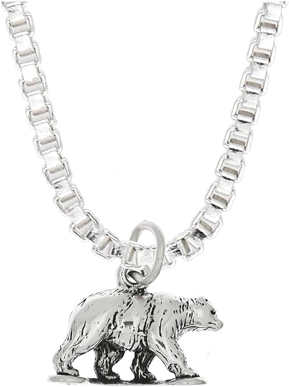 Sterling Silver Bear Pendant Animal Charm Grizzly Black Bear