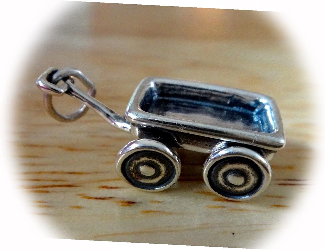 New Sterling Silver 3D Beauty Ranking TOP19 products 22x13x8mm Movable Wagon on Ch This Wheels