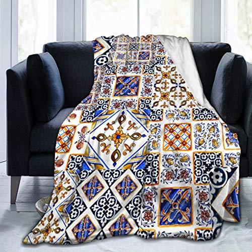 Art Italian Majolicawaterverf Majolicawaterverf aquarelvorm keramiek tegels in blauw bruin groen geel super zacht fuzzy heerlijk warm fluffy Plush blanket voor bed bank bank living room val