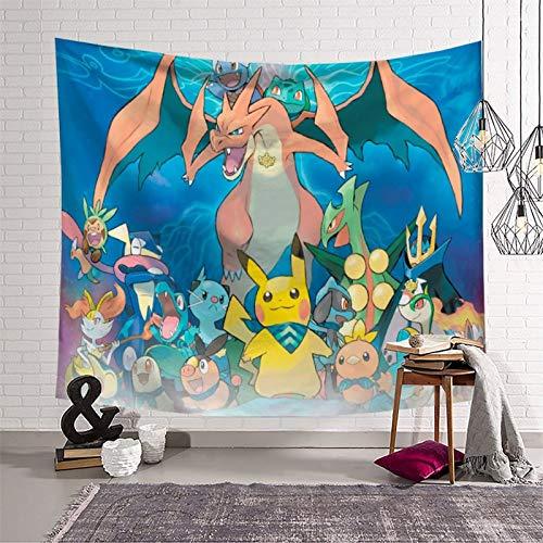 Decoración para sala de estar, dormitorio, sofá, decoración de anime, Pokémon, decoración de sala de estar, lista para colgar, ropa de cama de 210 x 150 cm