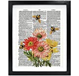Susie Arts 8X10 Unframed Bees with Flowers Upcycled Vintage Dictionary Art Print Book Art Print Home Decor Wall Art V116