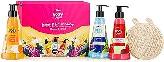 Plum BodyLovin' Feelin' Fresh n' Sassy Shower Gel Trio | Gift Set | Beachy-Floral-Fruity | Sulphate-Free | Loofah Insidey,...