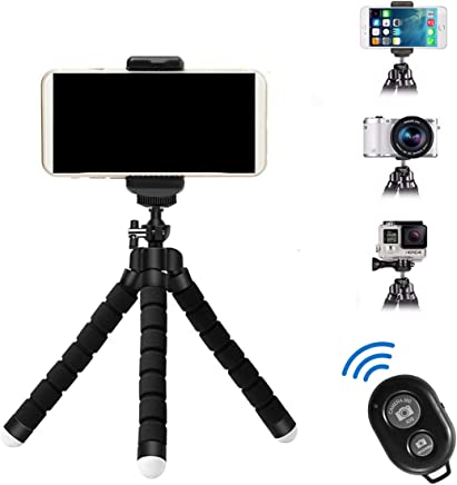 APSZST Phone Tripod, Portable and Adjustable Tripod Stand Holder with Remote for iPhone, Android Phone,Camera with Universal Clip and Remote (Black)
