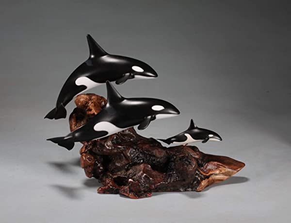 Orca Killer Whale Family Sculpture By John Perry 8in Tall