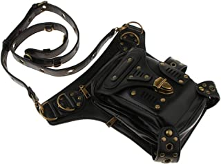 Baosity Unisex Leather Women Steampunk Belt Bag Waist Leg Hip Holster Cyber Punk Bag