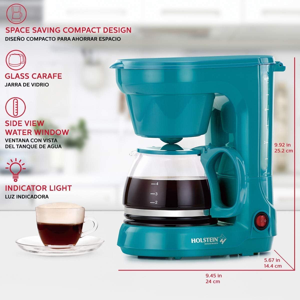 Mint Holstein Housewares HH-0914701I 5-Cup Coffee Maker 9.8x10x5.7
