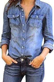 Hosam デニムシャツ レディース 長袖 ジャケット 欧米風 おしゃれ シンプルなデザイン 年中通用  (L, ブルー)