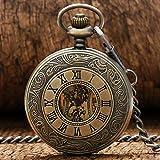 XQKQ Reloj de Bolsillo Números Romanos Relojes de Esqueleto Reloj de Bolsillo con Cadena Caja de Bronce Marca Reloj de Bolsillo mecánico