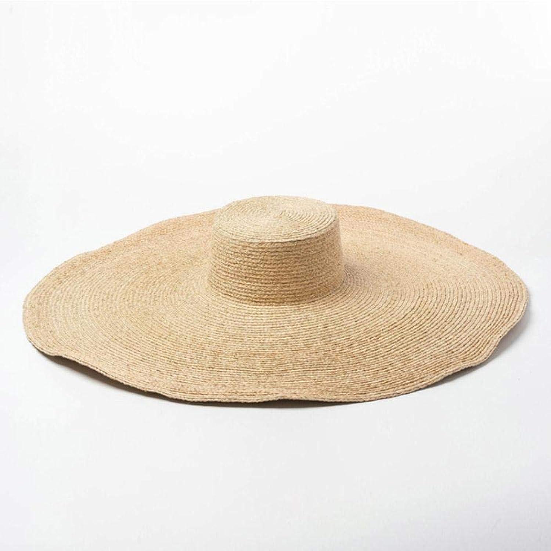 HUILIN Elegante natürliche 25cm extra groe Bast Hut breiter Krempe Kentucky Derby Hut Frauen Floppy Sommer Strand Hut groen Stroh Sonnenhut Chapeau, natürliche
