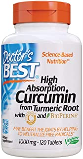 Doctor's Best Curcumin From Turmeric Root with C3 Complex & BioPerine, Non-GMO, Gluten Free, Soy Free, Joint Support, 1000...