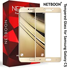 NETBOON Tempered Glass Screen Protector for Samsung Galaxy C5 (Golden)