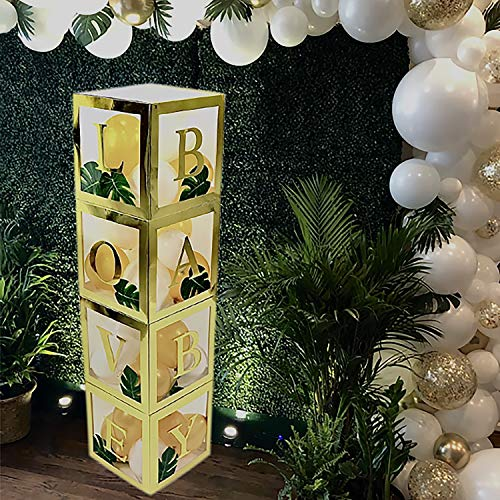 YARA Jungle Theme Safari Baby Shower Decorations Balloon Boxes with Letters Baby & Love| Gender Reveal Box Decor for Boy or Girl |Transparent Clear Box | Neutral Gold Party Supplies Kit
