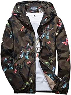 Mens Junior Trench Coat Printing Hooded Thin Zip Up Windproof Outwear