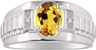 RYLOS Mens Ring with Oval Shape Gemstone & Genuine Sparkling Diamonds in Sterling Silver .925-8X6MM Alexandrite, Citrine/Yellow Topaz, Garnet, Peridot Color Stone - Designer Style