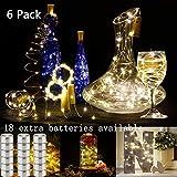 JOJOO Ensemble de 6 bougies de bouteille de vin blanc chaud - 32inch / 80cm 15 LED fil de cuivre lumières String Starry LED Lights pour bouteille Bricolage, mariage ou l'humeur lumières LT015*6