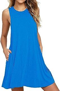 QIUYEJUO Women's Summer T Shirt Dresses Sleeveless/Long Sleeve Loose Tank Beach Dress with Pockets …