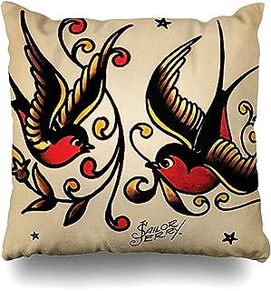 jonycm Pillow Cover Astilnet Sailor Jerry Tattoo Print Pillowslip Square Sofa Fundas De Cojines 45X45Cm Sofá Impreso Club Acogedor Dormitorio Viviendas