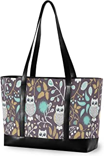 Forest Owl Laptop Tote Bag Womens 14,15,15.6 Inch Laptop Canvas Leather Travel Bag
