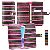 Emartbuy Pink Vintage Stripes PU Leather Wallet Case Cover