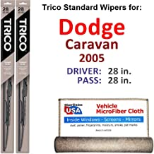 Wiper Blades for 2005 Dodge Caravan Driver & Passenger Trico Steel Wipers Set of 2 Bundled with Bonus MicroFiber Interior Car Cloth