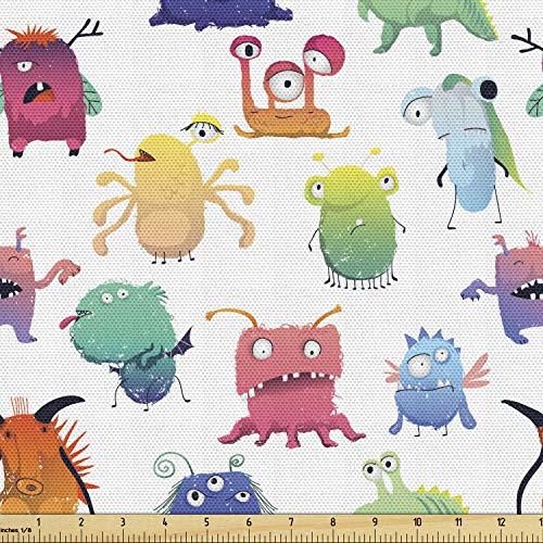 Ambesonne Childish Fabric by The Yard, Colorful Cartoon Characters Different Kind Monsters Along Funny Eyes and Teeth, Decorative Fabric for Upholstery and Home Accents, 1 Yard, White Blue