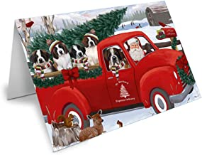 Doggie of the Day Christmas Santa Express Delivery Red Truck Greeting Cards (10, Saint Bernard)