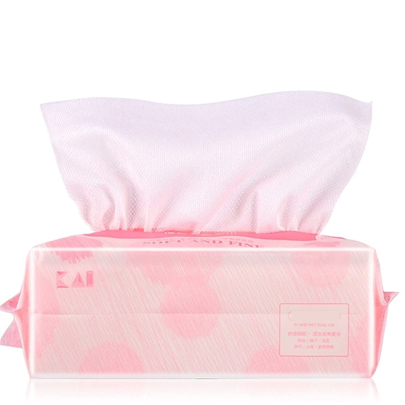 解説スリット怒るAorunji 柔らかい ナチュラルフェイシャルコットンティッシュコットンソフトタオル吸収コットンパッド(メイクアップリムーバー、ネイルポリッシュ用)ウェット/ドライクリーニング用ワイプ(Appr.100pcs) (色 : Pink)