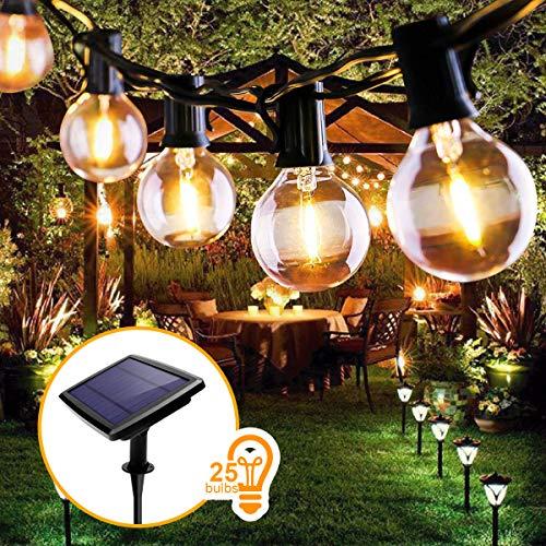 Lichterkette Außen, FOCHEA Lichterkette Glühbirnen 7.6m LED Solar Lichterkette Außen Globe Birnen Lichterkette Garten 4 Modi für Hochzeit Patio Party Aussen Warmweiß mit 25 Stück E12 Glühbirnen