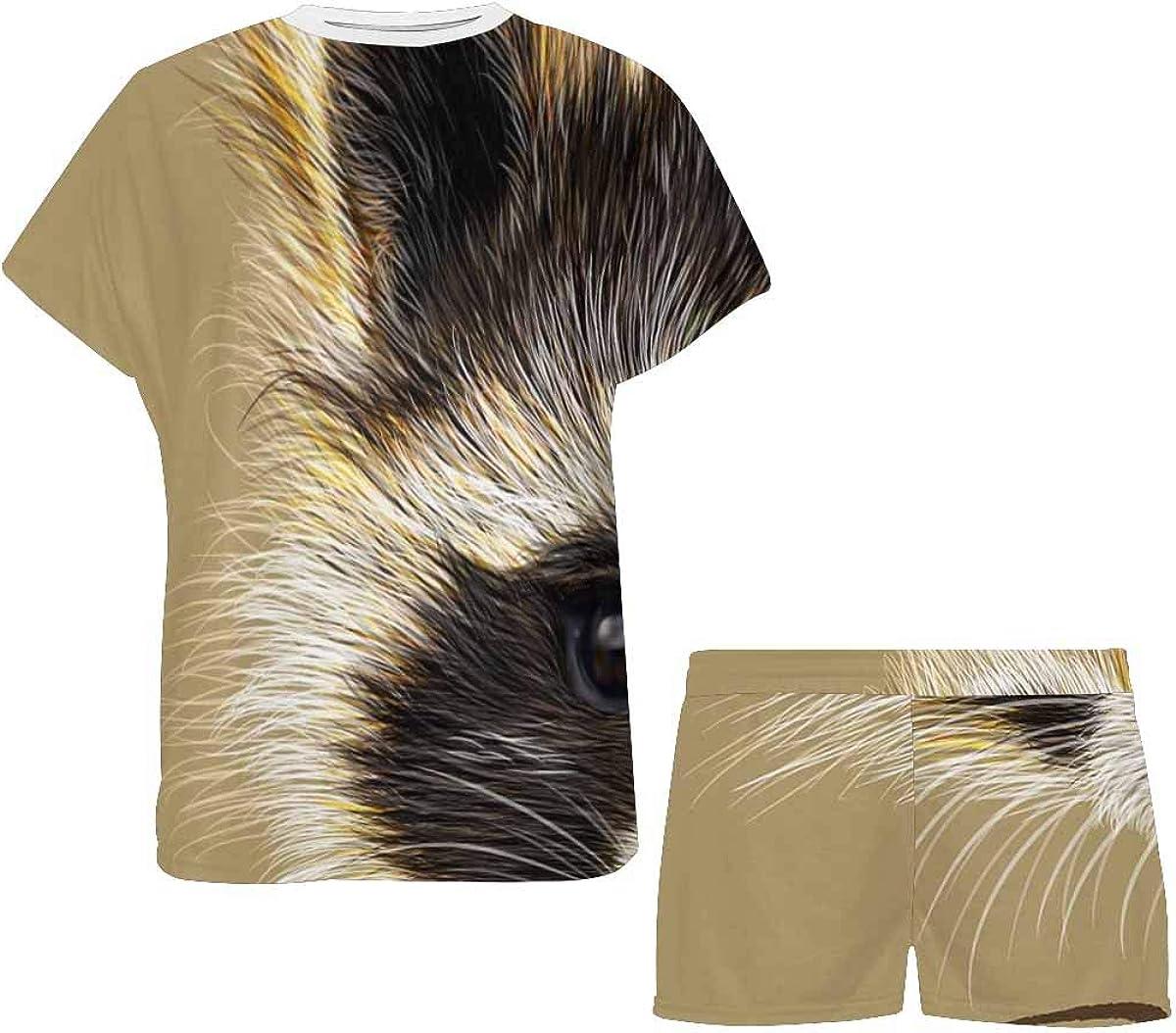 INTERESTPRINT Portrait of Raccoon Women's Breathable 2 Piece Shorts Pajama Sleepwear Set