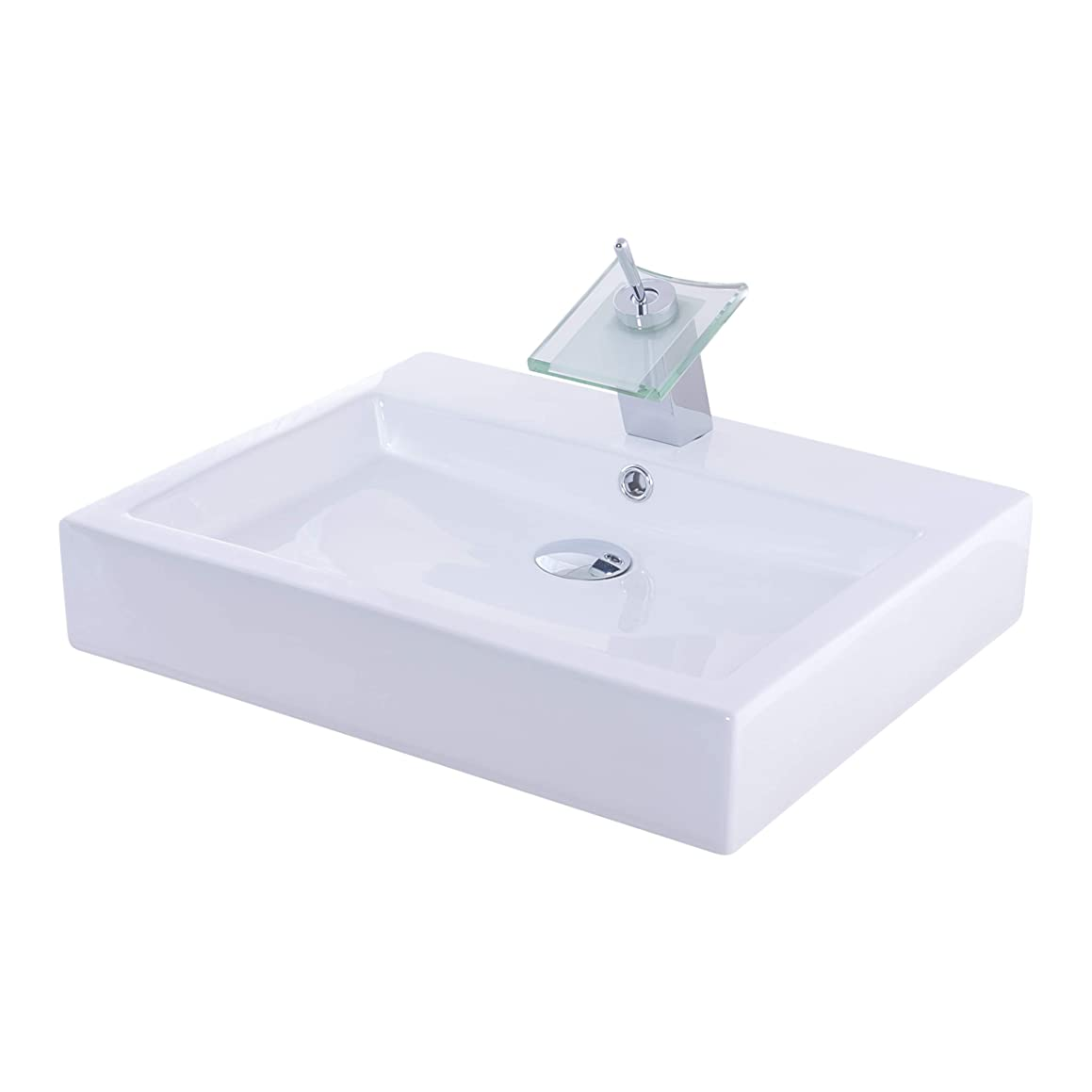 Novatto NSFC-01317010CH Porcelain Vessel Combo with Chrome, Drain and Sealer Sink/Faucet