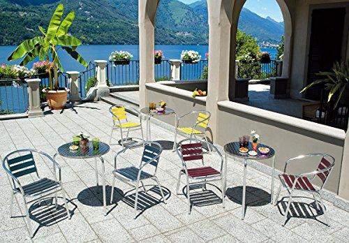 PEGANE Table Jardin en Aluminium et Plateau en Acier- A Usage PROFESIONNEL - Dim : H 70 x Ø 60 cm