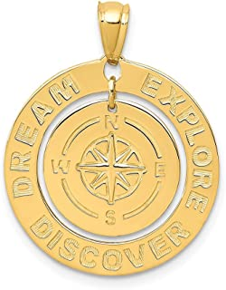 14k Yellow Gold Dream Explore Discover Compass Pendant Charm Necklace Sea Shore Boating Man Fine Jewelry Gift For Dad Mens For Him