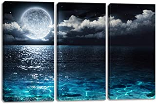 Moon Illuminating The Clear Ocean Blue Canvas Prints with Frame Large Full Moon in Cloud Landscape Picture Blue Ocean Seascape Giclee Artwork for Living Room Bedroom Ready to Hang(10