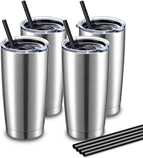 ALOUFEA 20oz Stainless Steel Tumblers Bulk, Vacuum Insulated Tumblers Pack with Lid and Straw, Double Wall Coffee Tumbler,...
