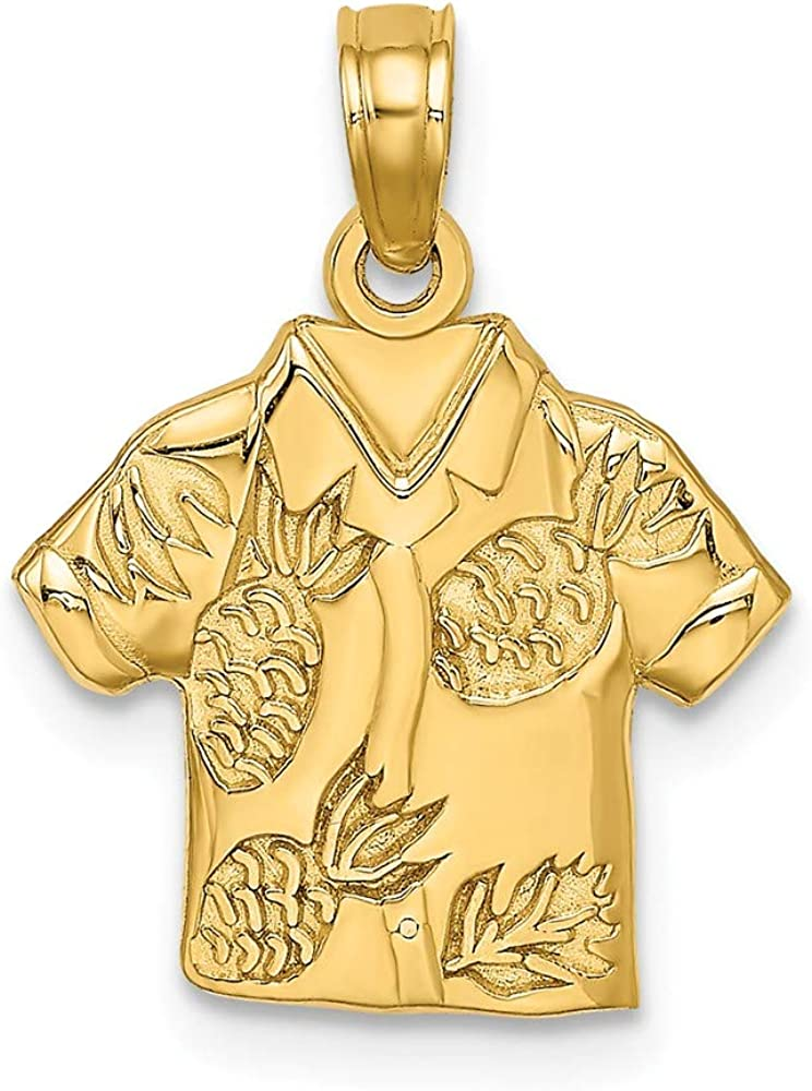 Jewels By Lux 14K Yellow Gold Hawaiian Style Shirt with Pineapples High Polish Pendant